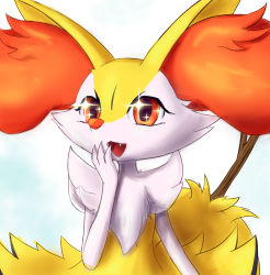 1girl, :3, animal ear fluff, animal ears, animal nose, body fur, braixen, creatures (company), eryz, fangs, female focus, flat chest, fox ears, fox girl, fox tail, furry, game freak, gen 6 pokemon, hand to own mouth, hand up, happy, highres, nintendo, open mouth, pokemon, pokemon (creature), red eyes, simple background, smile, snout, solo, sparkle, sparkling eyes, stick, tail, two-tone fur, upper body, white background, white fur, yellow fur
