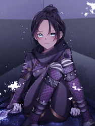 1girl, apex legends, blue eyes, blush, bodysuit, breasts, clenched hand, dated, electricity, forehead, hair behind ear, hair bun, highres, holding, holding knife, knife, looking at viewer, medium breasts, purple hair, sa10yul, signature, sitting, solo, tearing up, wraith (apex legends)