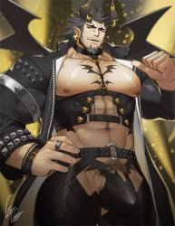 Rule 34   1boy, abs, bara, bare pecs, beard, belt, bodysuit, bulge, chest tattoo, cowboy shot, demon boy, demon horns, erection, erection under clothes, facial hair, fishnet bodysuit, fishnet legwear, fishnet top, fishnets, goatee, gomtang, grey hair, horns, jewelry, large pectorals, long sideburns, looking at viewer, male focus, mature male, muscular, muscular male, navel, navel hair, nipples, original, penis peek, pointing, pointing at self, ring, short hair, sideburns, smile, solo, spiked hair, stomach, stubble, tattoo, thick thighs, thighs