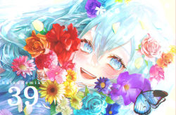 1girl, 39, absurdres, aqua flower, aqua rose, backlighting, blue butterfly, blue eyes, blue flower, blue hair, bug, butterfly, butterfly on hair, character name, chromatic aberration, close-up, daisy, dandelion, diandao qin, eyebrows visible through hair, eyelashes, face, flower, glint, hair between eyes, hair flower, hair ornament, happy, hatsune miku, highres, huge filesize, insect, leaf, lens flare, light blush, light particles, long hair, looking at viewer, number, open mouth, orange flower, orange rose, petals, pink flower, pink hair, pink rose, purple flower, purple rose, red flower, rose, round teeth, smile, solo, straight hair, sunflower, tareme, teeth, upper body, upper teeth, very long hair, vocaloid, white flower, yellow flower