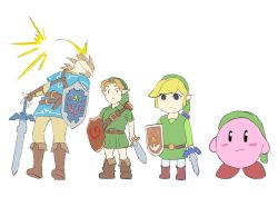 4boys, automatic giraffe, belt, black eyes, blonde hair, blue tunic, blush stickers, boots, brown footwear, brown hair, cosplay, expressionless, green headwear, green tunic, harness, headshot, holding, holding shield, holding sword, holding weapon, in the face, kirby, kirby (series), knee boots, left-handed, leggings, link, link (cosplay), low ponytail, master sword, medium hair, multiple belts, multiple boys, multiple persona, nintendo, odd one out, pointy ears, scabbard, sheath, shield, short hair, speech bubble, super smash bros., sword, the legend of zelda, the legend of zelda: breath of the wild, the legend of zelda: ocarina of time, the legend of zelda: the wind waker, time paradox, toon link, weapon, young link