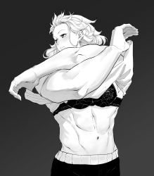1girl, abs, airpro033, bra, breasts, dorohedoro, formal, highres, jewelry, long hair, looking at viewer, monochrome, muscular, muscular female, navel, noi (dorohedoro), shirt, simple background, solo, suit, underwear, undressing