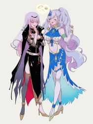 2girls, anklet, bangle, black cloak, black dress, black headwear, black legwear, black nails, blue dress, blue nails, blush, bracelet, braid, breasts, center opening, chino machiko, cleavage, cloak, commentary, detached sleeves, dress, earrings, eyebrows visible through hair, eyes closed, feather hair ornament, food, full body, gold footwear, grey background, hand on own chin, hand to own mouth, high heels, hololive, hololive english, hololive indonesia, jewelry, large breasts, laughing, long hair, midriff, mori calliope, multiple girls, nail polish, navel, open mouth, pavolia reine, pendant, pink hair, ponytail, see-through sleeves, side slit, silver hair, simple background, single braid, single thighhigh, smile, spikes, spoken food, standing, straight hair, sushi, symbol commentary, taut clothes, taut dress, thighhighs, tiara, veil, virtual youtuber, wavy hair, white legwear