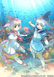 2girls, akitsu taira, anchor symbol, aqua hair, blowhole, blue dress, blue hair, chinese white dolphin (kemono friends), commentary request, common bottlenose dolphin (kemono friends), dolphin tail, dorsal fin, dress, eyebrows visible through hair, frilled dress, frills, grey hair, hair tie, kemono friends, kemono friends 3: planet tours, multicolored hair, multiple girls, neckerchief, necktie, octopus, official art, orange hair, pink hair, red footwear, red neckwear, sailor collar, sailor dress, short hair, short sleeves, smile, swimming, underwater, white dress, white footwear, white neckwear