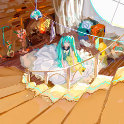 > <, 1girl, aqua eyes, aqua hair, aqua shirt, caibaobao (user ncrp5222), clothesline, commentary, fireplace, from above, hatsune miku, highres, indoors, long hair, room, round window, scenery, shirt, sitting, sketch, skirt, solo, spread skirt, stairs, stuffed toy, twintails, very long hair, vocaloid, white skirt