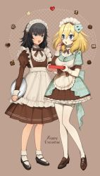 2girls, andou (girls und panzer), apron, bangs, black footwear, black hair, black neckwear, blonde hair, blue dress, blue eyes, bobby socks, brown dress, brown eyes, chocolate, commentary, dark skin, dress, eating, english commentary, english text, food, frilled cuffs, frilled dress, frills, girls und panzer, grey background, happy valentine, holding, holding food, holding tray, juliet sleeves, loafers, long sleeves, looking at another, maid apron, maid headdress, mary janes, medium dress, medium hair, messy hair, multiple girls, neck ribbon, open mouth, oshida (girls und panzer), pantyhose, pleated dress, puffy short sleeves, puffy sleeves, ribbon, shoes, short dress, short sleeves, simple background, smile, socks, standing, tan3charge, tray, two-tone dress, valentine, white apron, white legwear