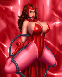 Rule 34 | 1girl, arms behind, arms behind back, artist name, avengers, ball gag, bare shoulders, bdsm, bondage, boots, bound, bound arms, bound legs, bounded, breasts, brown eyebrows, brown hair, bursting breasts, cape, captured, character name, cleavage, cleavage cutout, clothing cutout, curvy, curvy hips, deviantart username, eyebrows, eyelashes, eyeshadow, female focus, full body, gag, gagged, gloves, green eyes, gumroad username, headpiece, helpless, high heel boots, high heels, highleg, highleg leotard, highres, huge breasts, huge cleavage, kneeling, legs apart, legwear, leotard, lips, lipstick, long hair, long legs, looking to the side, makeup, marvel, marvel comics, mascara, pantyhose, patreon username, pink legwear, red background, red ball, red ball gag, red cape, red footwear, red gloves, red headwear, red high heels, red leotard, red lips, red theme, restrained, scarlet witch, shiny, shiny background, shiny clothes, shiny face, shiny skin, shocked expression, shocked face, shoulders, signature, skin tight, skin tight clothing, solo, solo focus, spread legs, strapless, strapless leotard, superhero, svoidist, tentacle, thick thighs, thighs, thin eyebrows, trapped, wanda maximoff, watermark, web address, wide hips, x-men