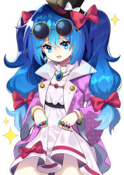 1girl, absurdres, alternate hairstyle, bangle, bangs, belt, blue eyes, blue hair, bow, bracelet, breasts, coat, commentary request, cosplay, cowboy shot, dress, earrings, eyebrows visible through hair, eyewear on head, furrowed eyebrows, hair between eyes, hair bow, hat, hat bow, highres, holding, holding clothes, holding skirt, jewelry, long hair, long sleeves, looking down, mini hat, multiple rings, necklace, open clothes, open coat, open mouth, purple coat, red bow, round eyewear, simple background, skirt, small breasts, solo, sparkle, standing, sweat, top hat, touhou, twintails, very long hair, white background, white bow, white dress, wide sleeves, yorigami jo'on, yorigami jo'on (cosplay), yorigami shion, yuujin (yuzinn333)