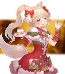 1girl, :3, :d, ;d, absurdres, animal ear fluff, animal ears, bangs, bell, blonde hair, blunt bangs, bow, bowtie, brace, cake, cake slice, capelet, center frills, christmas, coat, cowboy shot, eyelashes, food, fork, frills, fur-trimmed capelet, fur-trimmed coat, fur trim, green capelet, highres, holding, holding fork, king's raid, long hair, looking at viewer, neck bell, one eye closed, open mouth, ponytail, red coat, requina, ribbed shirt, santa costume, shirt, smile, solo, tail, v-shaped eyebrows, white shirt, winter, yellow eyes, yu mochi (kamiinu)