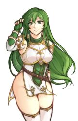 1girl, absurdres, armor, breasts, elbow gloves, erinys (fire emblem), fingerless gloves, fire emblem, fire emblem: genealogy of the holy war, gloves, green eyes, green hair, highres, long hair, looking at viewer, medium breasts, nintendo, no panties, pelvic curtain, simple background, smile, solo, tridisart, white background