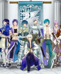 6+boys, abs, alternate color, angel wings, armor, armored boots, axe, bangs, banner, bare pecs, belt, black belt, black coat, black footwear, black gloves, black pants, black sclera, black shirt, black wings, blue cape, blue capelet, blue eyes, blue hair, blue jacket, blue pants, boots, breastplate, brown belt, brown footwear, brown pants, cape, capelet, chainmail, chair, closed mouth, coat, colored sclera, column, commentary request, crop top, cross, cross necklace, crossed arms, dagger, emblem, eyebrows visible through hair, eyepatch, fingerless gloves, full body, fur-trimmed cape, fur-trimmed capelet, fur-trimmed jacket, fur-trimmed pants, fur trim, gauntlets, glasses, gloves, grey hair, hair between eyes, hairband, head tilt, high collar, high priest (ragnarok online), high wizard (ragnarok online), holding, holding axe, holding dagger, holding instrument, holding staff, holding sword, holding weapon, ice pick, instrument, jacket, jewelry, layered clothing, leg armor, long sleeves, looking at viewer, lord knight (ragnarok online), medium hair, minstrel (ragnarok online), mismatched sclera, multiple boys, necklace, open clothes, open jacket, open mouth, open shirt, paladin (ragnarok online), pantaloons, pants, pauldrons, pillar, pointy ears, pouch, purple eyes, purple hair, purple vest, ragnarok online, retgra, scabbard, scar, scar on face, sheath, shirt, shoes, short hair, short sleeves, shoulder armor, single wing, sitting, sleeveless, sleeveless shirt, smile, spiked gauntlets, staff, stalker (ragnarok online), standing, stomach tattoo, suspenders, sword, tabard, tattoo, torn clothes, torn shirt, vest, violin, waist cape, weapon, white coat, white footwear, white gloves, white hair, white pants, white shirt, whitesmith (ragnarok online), wings