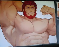 1boy, abs, armpits, bara, beard, biceps, facial hair, fate/grand order, fate/zero, fate (series), flexing, gomtang, highres, iskandar (fate), large pectorals, male focus, mature male, muscular, muscular male, navel, no nipples, nude, pose, red eyes, red hair, short hair, solo, stomach, upper body, work in progress
