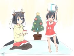2girls, :d, absurdres, alternate costume, animal ears, antennae, arms up, bangs, bare legs, barefoot, black hair, black legwear, blue eyes, blush, box, cake, child, christmas tree, commentary, disconnected mouth, drawstring, dress, eyebrows visible through hair, fake animal ears, fake antlers, food, fur trim, gift, gift box, greater lophorina (kemono friends), hair between eyes, hairband, head wings, highres, hood, hood down, hoodie, kemono friends, long sleeves, looking at another, multiple girls, no shoes, open mouth, pantyhose, pom pom (clothes), santa dress, shiraha maru, short hair, short sleeves, sitting, skirt, smile, standing, star (symbol), tail, western parotia (kemono friends), white background, yellow background, yellow hoodie, younger