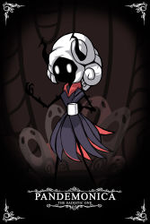 absurdres, artist name, black dress, black horns, black skin, character name, coffee cup, colored skin, commentary, cup, disposable cup, dress, ghost print, hand up, helltaker, highres, holding, holding cup, hollow knight, horns, arthropod girl, long hair, pandemonica (helltaker), parody, signature, standing, style parody, taphris, white hair