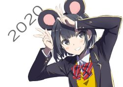 2020, animal ears, black eyes, black hair, bow, chinese zodiac, double v, gochou (atemonai heya), grin, jacket, mouse ears, new year, open clothes, open jacket, original, short hair, simple background, smile, striped, striped bow, sweater, upper body, v, white background, year of the rat, yellow sweater