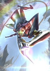 blue sky, emphasis lines, eva 02, extra eyes, glowing, glowing eyes, green eyes, holding, holding weapon, incoming attack, lens flare, mecha, neon genesis evangelion, no humans, outdoors, rainbow, signature, sky, solo, totthii0081, weapon