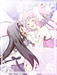 2girls, akemi homura, black hair, capelet, choker, collarbone, crying, crying with eyes open, dress, eyebrows visible through hair, eyes closed, facing viewer, furrowed eyebrows, gloves, grey capelet, hair ribbon, hairband, halftone, halftone background, hand holding, hand on another's head, happy, hikari (mitsu honey), interlocked fingers, kaname madoka, layered dress, legs together, light blush, long hair, long sleeves, looking at another, mahou shoujo madoka magica, multiple girls, pink hair, purple background, purple skirt, ribbon, sad, skirt, smile, sparkle, sparkle background, tears, thighhighs, two side up, ultimate madoka, very long hair, wavy mouth, white choker, white dress, white gloves, white legwear, white ribbon, wide sleeves, wings, zettai ryouiki