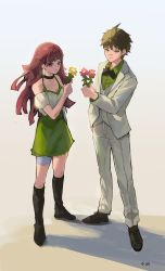 1boy, 1girl, arm at side, bangs, bare shoulders, black bow, black choker, boots, bow, breasts, brown footwear, brown hair, choker, commentary request, danganronpa (series), danganronpa 10th anniversary costume, danganronpa 2: goodbye despair, detached sleeves, dress shirt, earrings, flower, full body, green eyes, green shirt, green skirt, hand in pocket, highres, hinata hajime, holding, holding flower, jacket, jewelry, knee boots, long hair, long sleeves, null (skev7724), official alternate costume, open clothes, open jacket, pants, puffy short sleeves, puffy sleeves, purple hair, shirt, short hair, short sleeves, skirt, small breasts, smile, tsumiki mikan, vest, white jacket, white pants, white vest