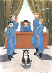 1girl, 5boys, aiguillette, amestris military uniform, animal, ankle boots, annoyed, arakawa hiromu, arm support, arms behind back, backlighting, bangs, black-framed eyewear, black eyes, black footwear, black hair, black hayate, blonde hair, blue eyes, blue jacket, blue pants, boots, brown eyes, chair, cigarette, closed mouth, collared jacket, cracked floor, crossed ankles, curtains, desk, dog, earrings, elbow rest, expressionless, eyes closed, facing away, facing viewer, fingernails, floor, folded ponytail, frown, full body, fullmetal alchemist, glasses, grey eyes, hands on hips, hands together, height difference, heymans breda, highres, indoors, jacket, jean havoc, jewelry, kain fuery, light brown hair, lineup, looking at animal, looking at viewer, looking down, military, military uniform, multiple boys, nervous, office, office chair, on chair, over-rim eyewear, own hands together, pants, peeking out, riza hawkeye, roy mustang, semi-rimless eyewear, shiny, shiny hair, sitting, smoke, smoking, spiked hair, standing, stud earrings, sweatdrop, swept bangs, uniform, v-shaped eyebrows, v arms, vato falman