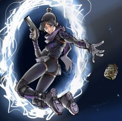 1girl, airborne, apex legends, bangs, black gloves, black hair, blue eyes, bodysuit, breasts, explosive, gloves, glowing, glowing eyes, grenade, gun, hair bun, handgun, highres, holding, holding gun, holding weapon, jumping, medium breasts, mohrefa, open hand, pistol, portal (object), purple scarf, scarf, science fiction, smile, solo, spikes, throwing, twisted torso, weapon, wraith (apex legends)