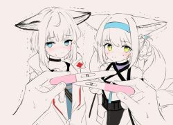 2girls, animal ear fluff, animal ears, arknights, bangs, bare shoulders, black choker, blue eyes, blue hairband, blush, braid, choker, closed mouth, collarbone, commentary, eyebrows visible through hair, fox ears, fox girl, fox tail, green eyes, grey background, hair rings, hairband, hawawa, holding, implied pregnancy, jacket, kitsune, looking at viewer, multiple girls, nose blush, open clothes, open jacket, out of frame, pregnancy test, shirt, simple background, smile, sussurro (arknights), suzuran (arknights), sweat, symbol commentary, tail, trembling, twin braids