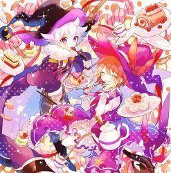 1boy, 1girl, belt, black cloak, black gloves, bow, brown belt, brown hair, cake, candy, cherry blossoms, cloak, cup, cupcake, eating, eyes closed, food, fork, fruit, gloves, hand on own face, hat, hat bow, hibi89, holding, holding plate, long sleeves, merc storia, pants, plate, polka dot, purple eyes, purple skirt, shirt, skirt, smile, soiree (merc storia), sparkle, sphera (merc storia), strawberry, strawberry shortcake, swiss roll, tea, teacup, teapot, white hair, white shirt, witch hat, wizard hat