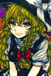 1girl, bangs, black vest, blonde hair, bow, braid, breasts, buttons, closed mouth, crossed bangs, eyebrows visible through hair, eyeshadow, hair between eyes, hair bow, hair ribbon, hat, hat bow, kirisame marisa, leaning forward, long hair, looking at viewer, makeup, medium breasts, orange background, puffy short sleeves, puffy sleeves, red bow, red eyeshadow, ribbon, shiraniwa rin, shirt, short sleeves, side braid, single braid, sitting, smile, solo, touhou, tress ribbon, turtleneck, upper body, v arms, very long hair, vest, wavy hair, white bow, white shirt, witch hat, yellow eyes