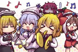 > <, ..., 5girls, ^ ^, ascot, bangs, beamed eighth notes, bell, black headwear, black skirt, black vest, blonde hair, brown hair, closed eyes, collared shirt, cymbals, drum, drum set, drumsticks, empty eyes, eyebrows visible through hair, eyes closed, falling star, frilled hat, frills, gradient, gradient background, grid background, hair ribbon, half-closed eyes, hat, hat ornament, horikawa raiko, instrument, light purple hair, long sleeves, lunasa prismriver, lyrica prismriver, merlin prismriver, multicolored, multicolored background, multiple girls, music, musical note, pink headwear, pink skirt, pink vest, playing instrument, quarter note, red eyes, red hair, red headwear, red neckwear, red shorts, red vest, ribbon, rumia, shaded face, shirt, shorts, skirt, speech bubble, standing, sweat, taiko drum, touhou, triangle (instrument), unime seaflower, v-shaped eyebrows, vest, whistle, white legwear, white shirt