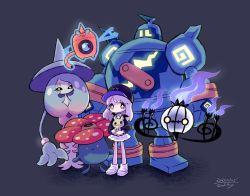 1girl, baseball cap, black background, black headwear, bright pupils, chandelure, creatures (company), dated, game freak, gen 1 pokemon, gen 4 pokemon, gen 5 pokemon, gen 7 pokemon, gen 8 pokemon, glowing, golurk, hat, hatterene, highres, long hair, long sleeves, mimikyu, nintendo, no nose, pink hair, pokemon, purple eyes, rotom, shadow, shoes, signature, simple background, solo, standing, vileplume, white footwear, white pupils, wide shot, zukky000