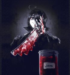 1other, absurdres, ahoge, black hair, blood, bloody weapon, borrowed character, highres, holding, holding knife, holding weapon, jar, knife, looking at viewer, medium hair, original, parted lips, popopoka, red theme, smile, spot color, two-handed, weapon