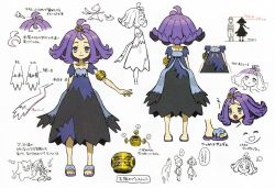 1boy, 2girls, :<, :3, ?, acerola (pokemon), arm behind back, armlet, bangs, chasing, closed mouth, collarbone, concept art, creatures (company), dress, elio (pokemon), elite four, eye contact, eyelashes, eyes closed, game freak, gen 1 pokemon, gen 7 pokemon, gengar, grey eyes, hair ornament, height, height chart, looking at another, looking at viewer, looking up, medium hair, mimikyu, multicolored, multicolored clothes, multicolored dress, multiple girls, multiple views, nintendo, number, official art, open mouth, partially colored, pikachu, pokemon, pokemon (creature), pokemon (game), pokemon sm, purple hair, raised eyebrows, sandals, selene (pokemon), short sleeves, smile, speech bubble, spoken question mark, standing, stitches, toes, tongue, topknot, translation request