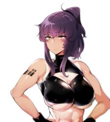 1girl, bad id, bad pixiv id, bangs, barcode, barcode tattoo, bare shoulders, black gloves, blush, breasts, cleavage, cleavage cutout, closed mouth, clothing cutout, crop top, crop top overhang, gloves, highres, large breasts, long hair, original, pocari sweat (artist), ponytail, purple hair, red eyes, solo, sweat, tattoo, toned, underboob, upper body