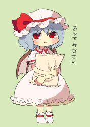 1girl, bad id, bad twitter id, blue hair, blush, closed mouth, dress, eyebrows visible through hair, fang, fang out, full body, hat, highres, looking at viewer, mob cap, pillow, pillow hug, pink dress, pink headwear, puffy short sleeves, puffy sleeves, red eyes, remilia scarlet, sasa kichi, shoes, short hair, short sleeves, solo, standing, touhou, translated, white footwear, wings