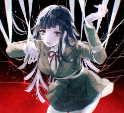 1girl, arm up, bandage, bandaid, bandaid on cheek, bangs, black background, bound, breasts, brown eyes, brown jacket, brown skirt, collared shirt, commentary request, danganronpa (series), danganronpa 3 (anime), hand up, hope's peak academy school uniform, jacket, large breasts, leaning forward, long hair, long sleeves, lower teeth, mole, mole under eye, neck ribbon, necktie, open mouth, pleated skirt, red background, red neckwear, red ribbon, ribbon, sakuyu, school uniform, shirt, skirt, solo, tears, tsumiki mikan, twitter username, white shirt