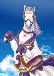animalization, bangs, blue sky, blunt bangs, choker, ellenuen, gold ship, gold ship (racehorse), hat, highres, horse, jacket, looking at viewer, no humans, open clothes, open jacket, parody, photo-referenced, purple choker, real life, skirt, sky, solo, umamusume, white hair, white horse, white jacket, white skirt