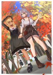 2girls, absurdres, autumn, autumn leaves, blonde hair, blush, breasts, commentary, commentary request, dress, elf, english commentary, foreshortening, from below, full body, grey hair, hand holding, haru yu, highres, hololive, huge filesize, large breasts, multiple girls, pinstripe dress, pinstripe pattern, pointy ears, purple eyes, ribbed sweater, shiranui flare, shirogane noel, shoes, short dress, silver hair, smile, striped, sweater, virtual youtuber, yuri