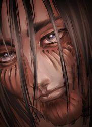 1boy, bangs, black hair, blue eyes, eren yeager, eyebrows behind hair, face, facial scar, hair between eyes, highres, lips, looking at another, medium hair, portrait, reflective eyes, scar, scar on cheek, scar on face, shingeki no kyojin, spoilers, vihurah, visible muscle