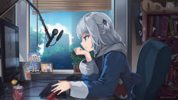 animal hood, anonamos, bangs, blinds, blonde hair, blue eyes, blue hair, blue hoodie, blunt bangs, dr pepper, fish tail, gawr gura, hair ornament, hat, highres, hololive, hololive english, hood, hoodie, instrument, keyboard (computer), long sleeves, medium hair, microphone, monitor, multicolored hair, multiple girls, open mouth, photo (object), room, shark girl, shark hair ornament, shark hood, shark tail, short hair, silver hair, streaked hair, tail, two side up, ukulele, virtual youtuber, watson amelia, white hair, wide sleeves, window