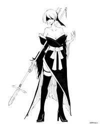 1girl, absurdres, black kimono, blindfold, boots, commentary, english commentary, high heel boots, high heels, highres, holding, holding spear, holding weapon, japanese clothes, kimono, monochrome, nier (series), nier automata, off-shoulder kimono, polearm, short hair, signature, solo, spear, thigh boots, thighhighs, tied hair, wangphing, weapon, white hair, wide sleeves, yorha no. 2 type b