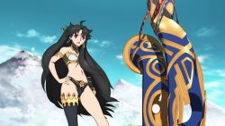 3girls, animated, armlet, armor, ass, ass focus, asymmetrical legwear, battle, black hair, character request, crown, curvy, earrings, fate/grand order, fate (series), fighting, hair ornament, highleg, highleg panties, holding, holding weapon, huge ass, ishtar (fate), ishtar (fate) (all), jewelry, leotard, long hair, mash kyrielight, multiple girls, panties, scythe, sky, smile, thong, twintails, underwear, very long hair, video, walking, weapon, webm