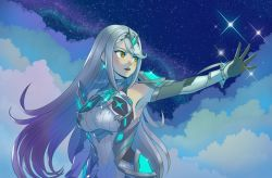 1girl, aegis sword (xenoblade), bangs, bare shoulders, chest jewel, cleavage cutout, clothing cutout, dress, earrings, elbow gloves, gem, gloves, headpiece, highres, issycake, jewelry, long hair, mythra (massive melee) (xenoblade), mythra (xenoblade), nintendo, short dress, silver eyes, silver hair, solo, super smash bros., swept bangs, thigh strap, tiara, very long hair, white gloves, xenoblade chronicles, xenoblade chronicles (series), xenoblade chronicles 2