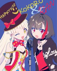 2girls, :o, ;d, bang dream!, bangs, bare shoulders, black hair, black neckwear, blonde hair, blue background, blush, bow, bowtie, breasts, chain necklace, character name, choker, cleavage, commentary request, diagonal bangs, dress, earrings, eyebrows visible through hair, hat, hat bow, highres, hood, hood down, hoodie, jewelry, large bow, long hair, long sleeves, looking at viewer, medium breasts, microphone, mio (melchi), mitake ran, multicolored hair, multiple girls, one eye closed, open clothes, open hoodie, open mouth, pendant, pendant choker, planet earrings, polka dot, polka dot bow, polka dot neckwear, pom pom (clothes), red eyes, red neckwear, short hair, sidelocks, sleeveless, sleeveless dress, small breasts, smile, standing, streaked hair, sweatdrop, top hat, tsurumaki kokoro, upper body, very long hair, yellow eyes