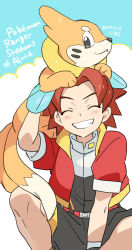 1boy, bangs, belt, blush, brown hair, buizel, clenched teeth, commentary request, copyright name, creatures (company), dated, eyes closed, game freak, gen 4 pokemon, gloves, grin, jacket, keith (pokemon ranger 2), male focus, nibo (att 130), nintendo, on head, open clothes, open jacket, parted bangs, pokemon, pokemon (creature), pokemon (game), pokemon on head, pokemon ranger, pokemon ranger 2, red jacket, short sleeves, shorts, smile, spread legs, teeth