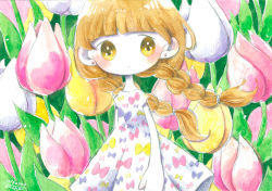 1girl, :|, arms at sides, bangs, bare arms, blunt bangs, blush, bow print, braid, closed mouth, colorful, cowboy shot, dated, dress, earrings, expressionless, floating hair, floral background, flower, jewelry, light brown eyes, light brown hair, long hair, looking at viewer, low twintails, no nose, original, outdoors, pink flower, print dress, short sleeves, signature, solo, stud earrings, tareme, traditional media, tulip, twin braids, twintails, very long hair, white dress, white flower, wind, yellow flower, zukky000