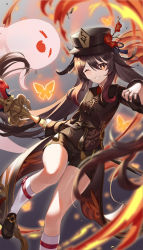 1girl, absurdres, black footwear, black headwear, black nails, black shirt, black shorts, blurry, brown hair, chinese clothes, collared shirt, depth of field, fire, flat chest, flower, genshin impact, ghost, grin, hat, hat flower, highres, holding, holding spear, holding weapon, hu tao, jewelry, long hair, long sleeves, looking at viewer, multiple rings, nail polish, ohihil, one eye closed, plum blossoms, polearm, red eyes, ring, shirt, shoes, short shorts, shorts, smile, socks, solo, spear, star-shaped pupils, star (symbol), symbol-shaped pupils, tailcoat, thighs, twintails, v-shaped eyebrows, very long hair, vision (genshin impact), weapon, white legwear