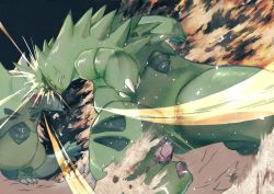 anger vein, attack, battle, claws, clenched teeth, closed mouth, creatures (company), game freak, gen 2 pokemon, headbutt, highres, kajitsu ohima, leaning forward, nintendo, no humans, open mouth, pokemon, spikes, standing, teeth, tyranitar