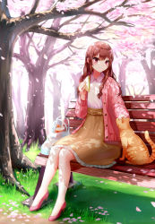 1girl, absurdres, bag, bench, blurry, blurry background, blush, bottle, brown hair, brown skirt, cardigan, cat, cherry blossoms, commentary request, dappled sunlight, day, food, grass, hair between eyes, high-waist skirt, high heels, highres, holding, holding food, looking down, on bench, open cardigan, open clothes, orange cat, original, outdoors, park, park bench, petals, petticoat, petting, pink cardigan, pink eyes, pink footwear, plastic bag, ruri-urasue-1224, sandwich, shirt, shopping bag, sitting, skirt, smile, solo, sunlight, tree, white shirt