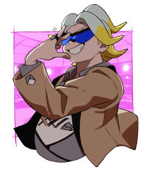 1boy, adjusting eyewear, black-framed eyewear, blue-tinted eyewear, brown jacket, collared shirt, commentary request, creatures (company), game freak, gordie (pokemon), grin, gym leader, hand up, jacket, jewelry, long sleeves, male focus, mira (miramita8727), multicolored hair, nintendo, open clothes, open jacket, pokemon, pokemon (game), pokemon swsh, ring, shirt, smile, solo, sparkle, sunglasses, two-tone hair, upper body