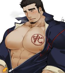 1boy, abs, bara, bare pecs, black hair, blush, breath, bursting pecs, character request, check copyright, chest tattoo, copyright request, facial hair, goatee, gomtang, jacket, large pectorals, long sideburns, male focus, mature male, muscular, muscular male, nipples, open clothes, open jacket, original, pectorals, short hair, sideburns, solo, stomach, sweatdrop, tattoo, thick eyebrows, track jacket, unzipped, upper body