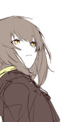 1girl, black jacket, brown hair, closed mouth, eyebrows visible through hair, ff frbb122, girls frontline, highres, jacket, long hair, looking up, scar, scar across eye, solo focus, ump45 (girls frontline), white background, yellow eyes